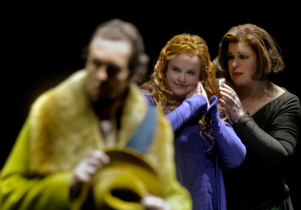 Georg Zeppenfeld, Petra Lang and Christa Mayer.: Tristan und Isolde (Katharina Wagner) - Bayreuth Festival 2019