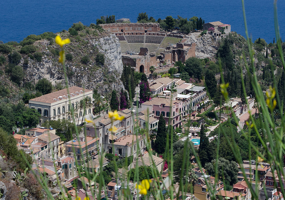 Greek theatre in Taormina, Sicily. Also