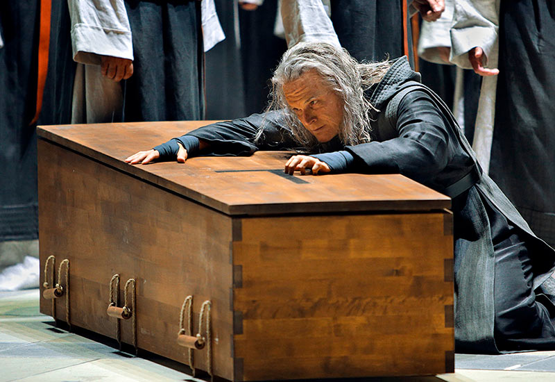 Ryan McKinny as Amfortas in Uwe Erich Laufenberg's new production of Parsifal. Photo: Enrico Nawrath / Bayreuther Festspiele