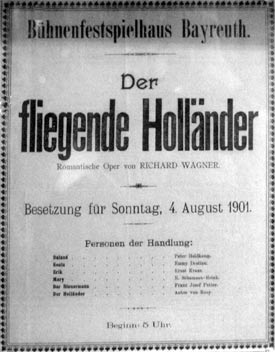 Poster from the first year Der fliegende Holländer was produced at Bayreuth