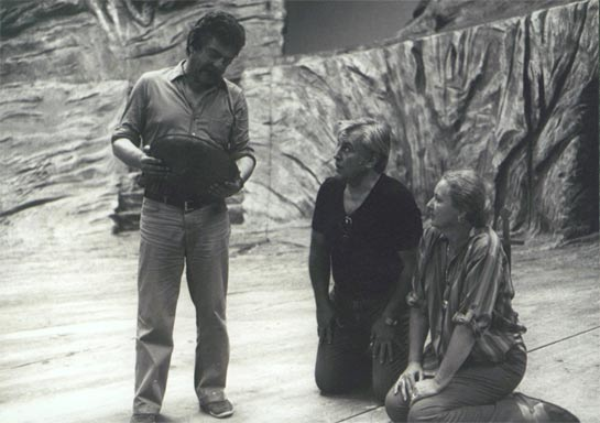 Jean-Pierre Ponnelle, Spas Wenkoff and Johanna Meier during rehearsal in 1982
