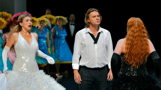 Annette Dasch, Klaus Florian Vogt and Petra Lang in Hans Neuenfels' production of Lohengrin at the Bayreuth Festival 2011
